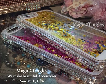 Iridescent Dancing Galaxy Floating Glitter Star Liquid Clear White Sparkle Crystal Diamond Gold or Pink Fancy Cover Case For iPhone 6 & PLUS