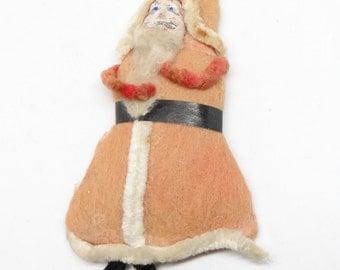 1940's Santa Christmas Ornament, Hand Painted Clay Face, Cotton Beard, Made in Japan Original Tag