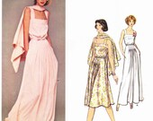 PATTERN Vogue 1447 Strappy dress close fit bust pintuck detail on skirt at front long short length & shawl Size 10 Christian Dior (uncut)