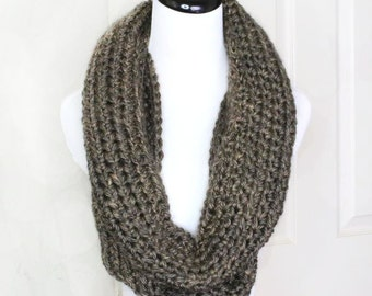 Brown Infinity Scarf, Crochet Scarf