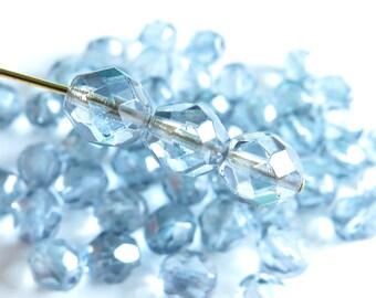 Czech Glass Firepolish Beads - Transparent Blue - 8mm