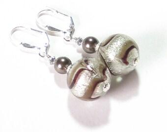 Murano Glass Brown Feather White Gold Ball Earrings, Clip On Earrings, Leverback Earrings, Venetian Jewelry, Italian Glass Jewelry, For Her