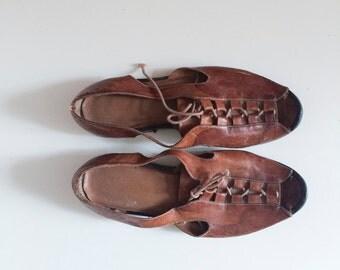 vintage leather cutout laced sandals