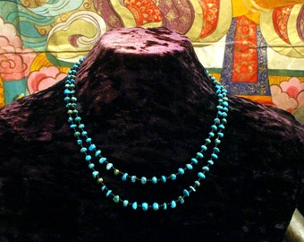 Turquoise Necklace, Ethnic Jewelry, Tribal Necklace, Multi Strand Necklace, Statement Necklace, Natural Turquoise Nugget, Boho, Beadwork,