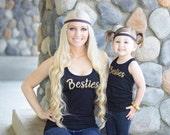 Besties Kids Racer Back Tank Mommy Auntie Girls Best Friends Besties BFF T-Shirt Design
