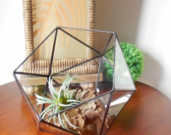 Glass Terrarium, Indoor Gardening, Clear Glass Planter, Geometric Shape, Icosahedron. Made To order