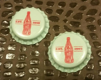2 Blue / Red / Soda Bottle Caps / Altered Art  / Mixed Media Supplies / Assemblage /  Repurposed  / found objects / jewelry / pendants