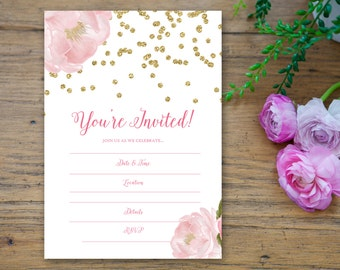 Sparkle Peony Fill in the Blank Invitation 5x7 - hand write invite romantic flower pink rose peony gold glitter girly birthday bridal shower
