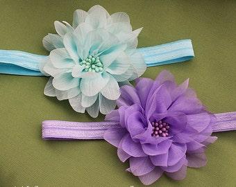 Lavender & Aqua-Mint Flower Blossom Headband Twin Pack - Girls Soft Chiffon Flower Bows