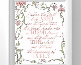 Printable Peter Pan Nursery Decor - When the first baby laughed - Faeries - vintage nursery decor - fairies - classic nursery - print