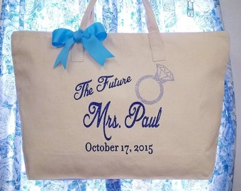 FUTURE MRS. BRIDE Canvas Wedding Ring Tote Bag