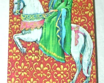 Medieval Damsel on Horse Duratone Playing Cards Deck Games Swap Trade Crafts Altered Art Scrapbooking