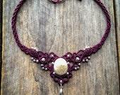 Macrame Sand Dollar necklace tiara boho jewelry by Creations Mariposa