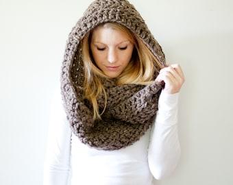 Extra Chunky Cowl Scarf Hood Loop Infinity scarf - the DAKOTA infinity - barley - wool blend
