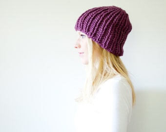 the LATTA hat -basic chunky knit hat womens fitted hat beanie - fig