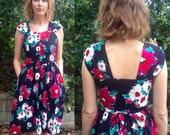 1980s black abstract floral summer dress