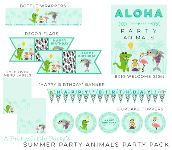 Summer Party Animals Party Pack  - Digital files Luau Party - Pineapple Party Supplies - INSTANT DOWNLOAD