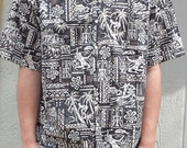 Vintage Reyn Spooner Hawaiian Shirt XL Black White Hawaiian Shirt Tropical Shirt Cabana Shirt Tiki Shirt Surf Shirt