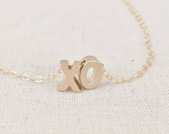 Gold XO Necklace, Gold Hugs and Kisses Necklace, XO Charm Necklace, Gold Filled Chain, XO Initials, Birthday Gift, Gift For Her