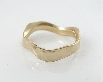 Wavy gold ring. 4.5mm width wedding band- 14k yellow gold  (1517). hes and hers wedding band, matte wedding ring