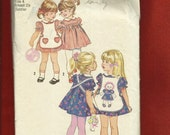 Vintage 1970's Simplicity 9731 Puff Sleeve Dress & Retro Pinafore for Girls  Size 4