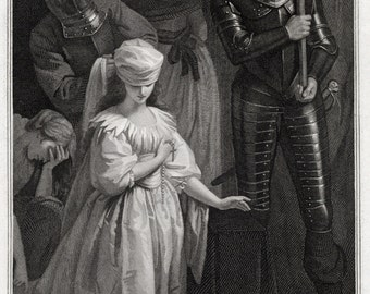 Print of Mary Queen of Scots. A large Engraving dated 1795 An Historic Picture Depicting the Beheading of The Scottish Queen. by John Opie