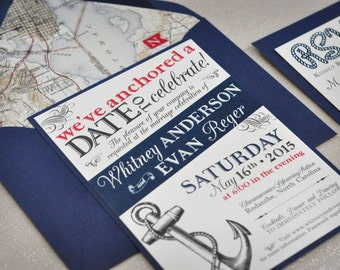 Nautical Wedding Invitation - Navy - Cruise Wedding - Red and Navy