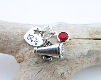 Cheer Megaphone Necklace, Cheereading Necklace, Personalized Cheerleading Gifts, Cheerleader Jewelry