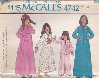 Girls Pajamas and Hooded Robe Pattern McCalls 4742 Size 6