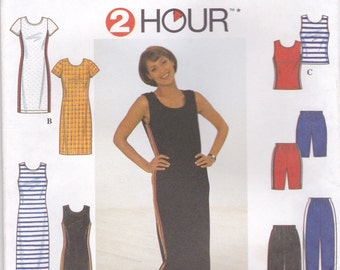 T-Shirt Dress and Sporty Separates Pattern Simplicity 8138 Sizes 10 12 14 Uncut