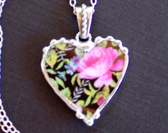 Necklace, Broken China Jewelry, Broken China Necklace, Heart Pendant, Black Chintz With Pink Roses, Sterling Silver