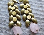 brass wheat chain and pink quartz crystal earrings