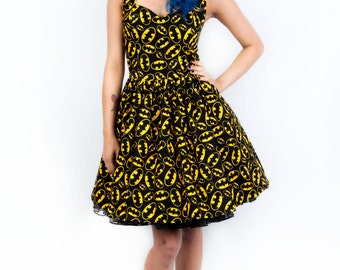 Batman dress-comic dress- Womens halterneck