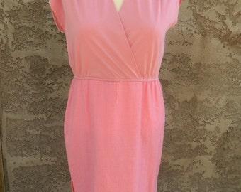 Vintage Pink Dress / 1960s Wrap Dress /  Light Pink Summer Dress Size Large