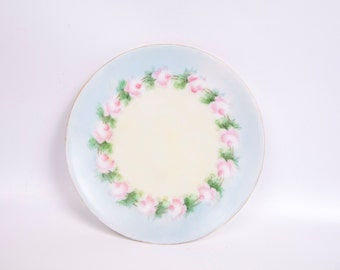 Vintage Silesia Plate Germany Hand Painted Pink Roses Rimmed in Gold 1920s Plate