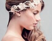 Rustic Wedding Flower Crown - Wedding Hair Wreath - Boho Bridal Headpiece, The Rosalind blush Bridal Halo Headpiece #175