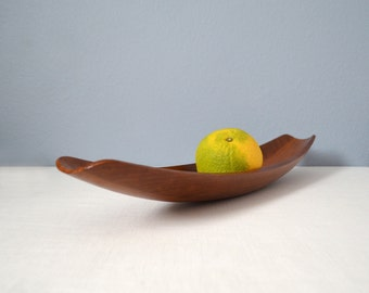 Early Vintage Dansk Staved Teak Canoe Bowl or Tray