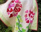 babiart hearts love appliquéd baby toddler girl Quilt of  3-D Pink and Red Flowers wall art