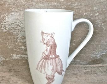Sweet Fox Girl Mug, 20 oz, Victorian Fox Child in Dress, Fantasy Animal Coffee Cup, Tree and Cottage Tea Mug, Ready to Ship