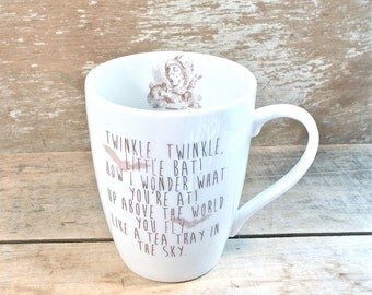 Alice in Wonderland Mug, Twinkle Twinkle Little Bat, Large Tea Cup, Mad Hatter Tea Party, Through the Looking Glass, Ready to Ship