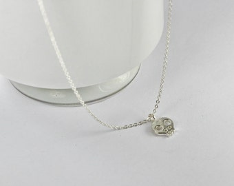 Sterling Silver Baby Skull Necklace, Small Skull Pendant Necklace, Mini Skull Charm Necklace Y065