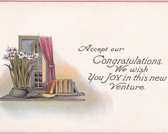 "Ca. 1912 ""Books, Flowers and a Window"" Congratulations Postcard - 2243"