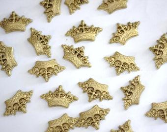 Fondant Crown Toppers - Gold Fondant Crown Cupcake Toppers - Edible Crown Toppers - Prince Fondant Topper - Princess Fondant Topper