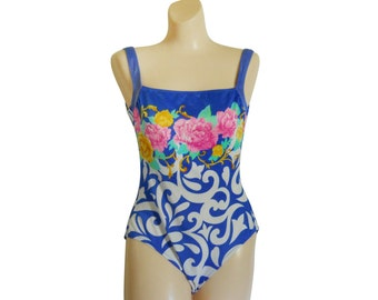 One Piece Swimsuit One Piece Bathing Suit One Piece Swim Suit Baroque Suit Blue Swimsuit Swimming Suit Women Swimsuit Floral Bathing Suit