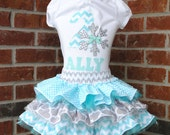 Personalized Frozen Themed Sparkly Sequin Gray, Silver, & Aqua Snowflake Birthday Outfit Including Tulle Skirt with Three Ruffles  and Shirt