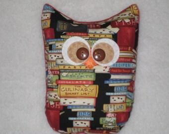 Large Cookbook Owl - Kitchen Decor - Chef Gift - Owl Decor - READY TO SHIP