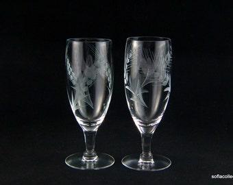 "Javit Crystal ""Festive"" Pattern Juice Glasses with Cut Wheat Design - Vintage 1940s 1950s Stemware (pair)"