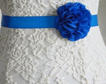 Royal Blue, Something Blue, Bridal Sash Belt, Wedding Flower Belt, Dress, Flower Girl, Bridesmaid, Belt and Sashes, Tieback headband