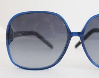 Vintage 80's Oversized Deep Blue Sunglass Frames