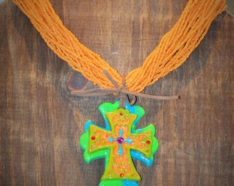 Clay Chunky Cross Pendant and Necklace